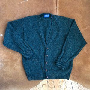 VINTAGE DEEP FOREST GREEN WOOL CARDIGAN